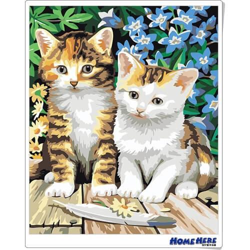 數字油畫 兩隻小貓 預購款 30-45天到貨