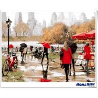 數字油畫 都市公園一景