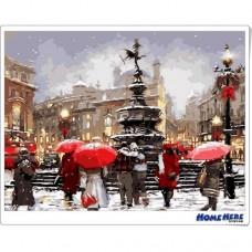 數字油畫 聖誕節雪中的街頭