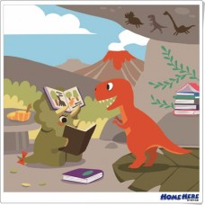 數字油畫 × 插畫家Bonnie 恐龍圖書館 暴龍三角龍的讀書會