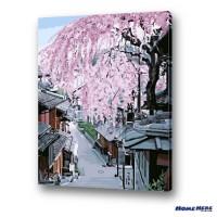 數字油畫 京都 櫻花坂道 (獨家縮時淡彩畫布)