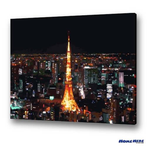 數字油畫 東京鐵塔 (獨家縮時淡彩畫布)