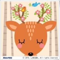 數字油畫 韓國插畫家款 害羞的小花鹿