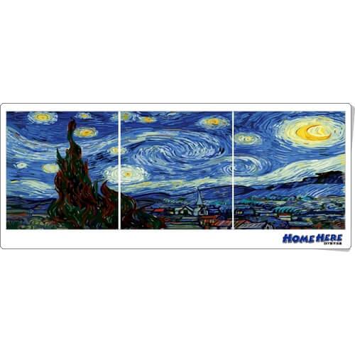數字油畫 三拼 大型拼畫 梵谷 星夜 50x40x3幅