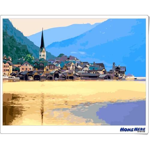 數字油畫 夕陽下的奧地利小鎮 (獨家縮時淡彩畫布)