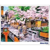 數字油畫 京都 祇園之櫻 (獨家縮時淡彩畫布)