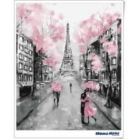 數字油畫 鐵塔 浪漫粉櫻