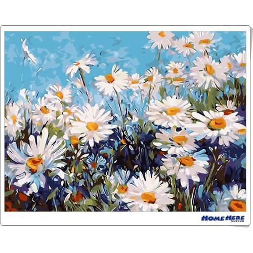 數字油畫  白色雛菊