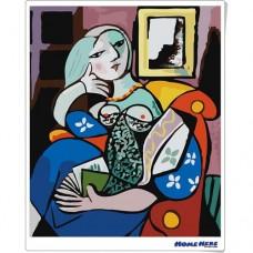 數字油畫 畢卡索 拿著一本書的女人