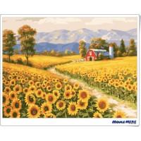 數字油畫  向日葵 金色原野