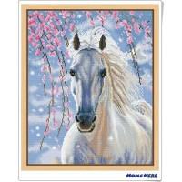 鑽石畫 櫻花白馬
