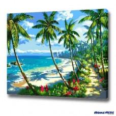 數字油畫 海灘椰樹