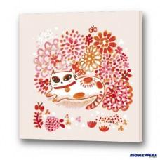 數字油畫 × 插畫家尼果 花與花貓 送亮光漆