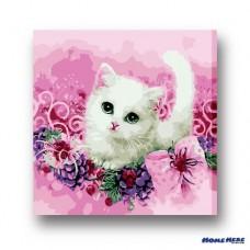 數字油畫  花叢小貓