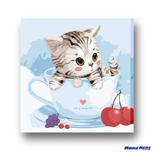 數字油畫  杯子水果貓