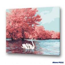 數字油畫 天鵝湖 優雅