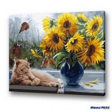 數字油畫 向日葵與貓咪