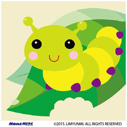 數字油畫 韓國插畫家款 葉片小毛蟲
