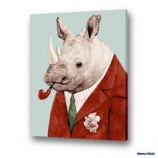 數字油畫 犀牛紳士