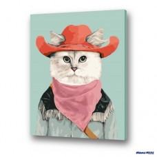 數字油畫 貓咪牛仔