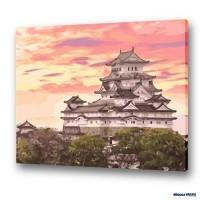數字油畫 綺麗白鷺 姬路城 (獨家縮時淡彩畫布)