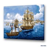 數字油畫 碧海帆船