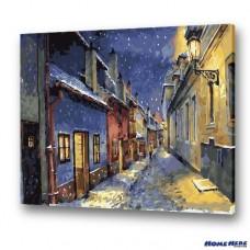 數字油畫 東歐的夜晚街景