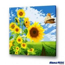 數字油畫  向日葵與蝴蝶