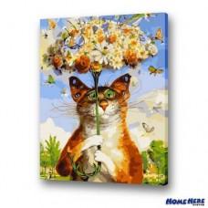 數字油畫  花飛噴的貓