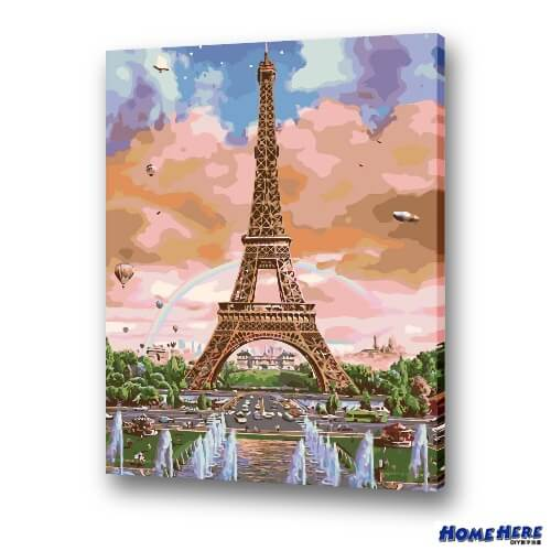 數字油畫  水漾噴泉鐵塔