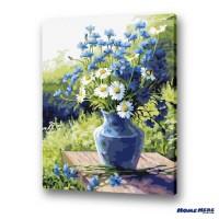 數字油畫 藍色小雛菊
