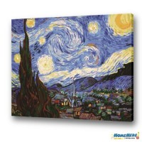 數字油畫 梵谷 星夜 限量加大尺寸