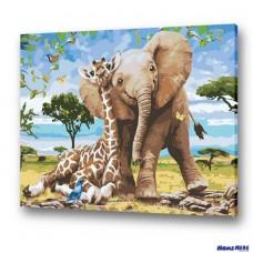 數字油畫 大象與長頸鹿
