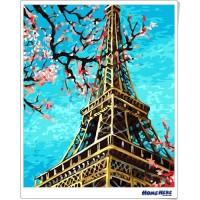 數字油畫 鐵塔 春天