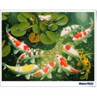 數字油畫 錦鯉報春