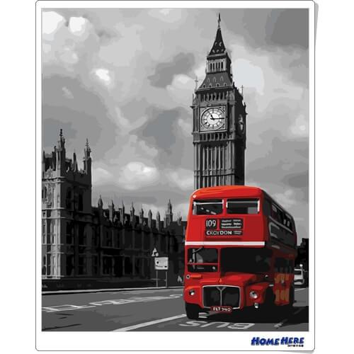 數字油畫 倫敦街景 雙層巴士