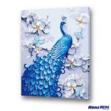 數字油畫 藍孔雀