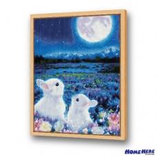鑽石畫 花好月圓兔