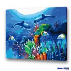 數字油畫  海豚之戀