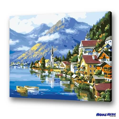 數字油畫 奧地利風光