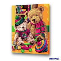 數字油畫 熊熊愛玩具