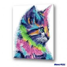 數字油畫 可愛多彩貓