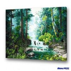 數字油畫 森林溪水