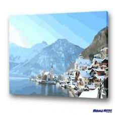 數字油畫 冬日暖陽 奧地利風光