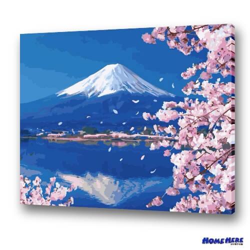數字油畫 舞櫻 逆富士 (獨家縮時淡彩畫布)