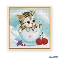 鑽石畫 杯子水果貓