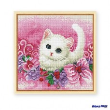 鑽石畫 花叢小貓