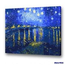 數字油畫 梵谷 隆河的星夜