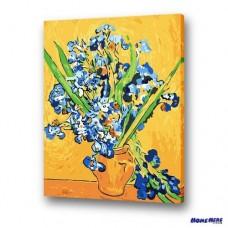 數字油畫 梵谷 花瓶裡的鳶尾花