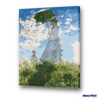 數字油畫 莫內 撐洋傘的女人